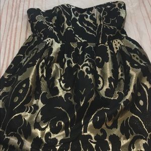 Black and Gold Print Cocktail Dress